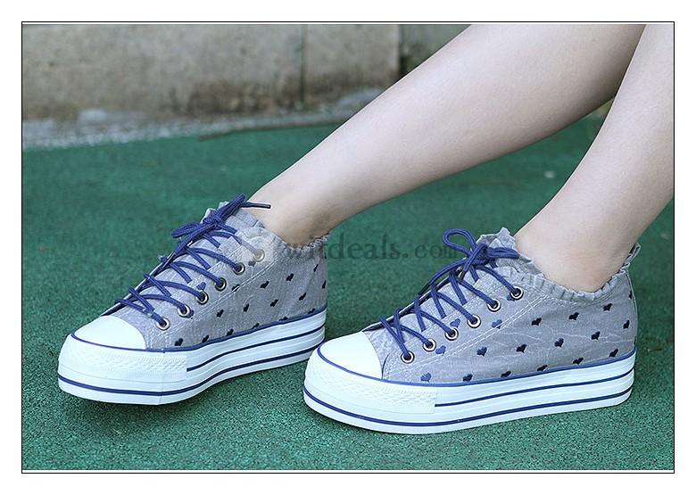 ハート柄 レディース キャンバススニーカー カジュアルシューズ 靴 ズック 女性 運動靴 かわいい