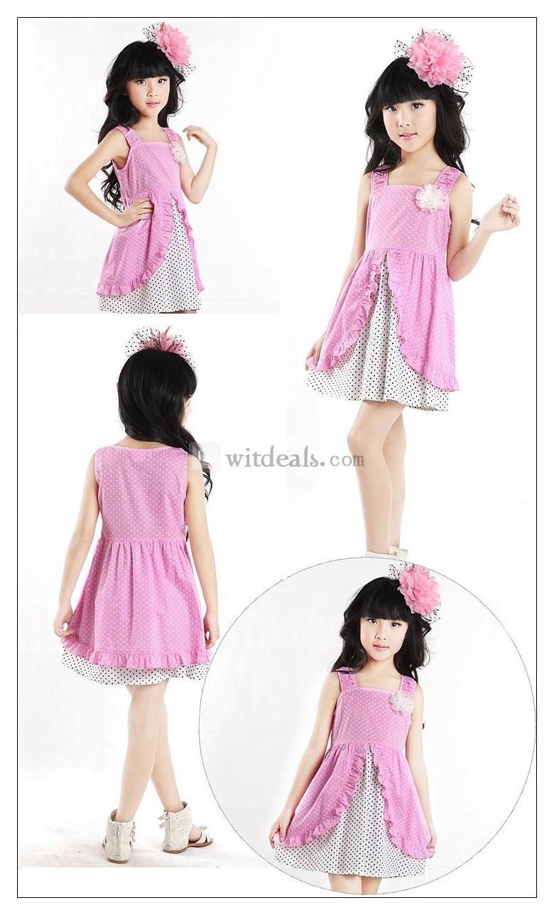 女の子 キッズドレス ワンピース 綿ワンピ 水玉ワンピース ファッションキッズ 子供服