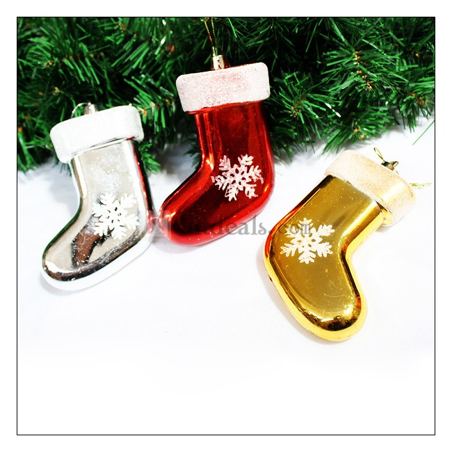 靴下 ソックス 雪 クリスマス クリスマスツリー 飾り オーナメント 装飾 5個セット