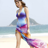 レディース砂浜/ビーチスカーフ/スカート ビーチウェア 水着 人気ストレッチパレオ 花火柄