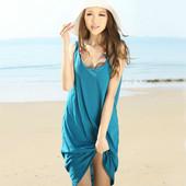 砂浜/ビーチワンピース レディース水着 ガータースカート/ワンピース キャミソール/ワンピース ブルー