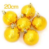 メッキ光沢煌きクリスマスツリーオーナメントボール/装飾ボール 20cmシングル ゴールド