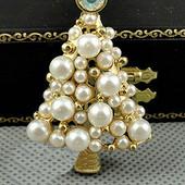 クリスマスツリー ブローチ クリスマスプレゼント アクセサリー メッキ 合金製