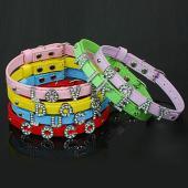 超可愛い ペットpuレザー首輪 犬首輪/カラー 文字DIY可能 ドッグネックレス