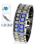 ブレスウォッチ LEDが光るブレスレット型の腕時計 メタル バングル ペアウォッチにも最適 LED腕時計 メンズ レディース